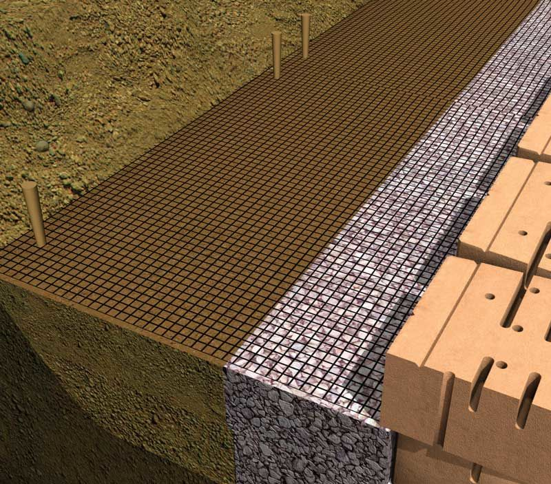Stake geogrid to hold it in place.