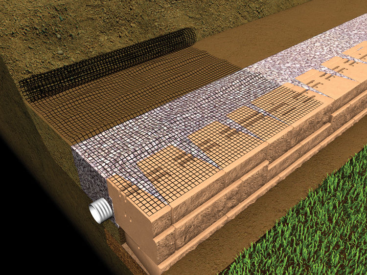 Place the end of the geogrid on the flat top of the Mosaic panels about 1 inch from the wall face and roll it away from the wall.