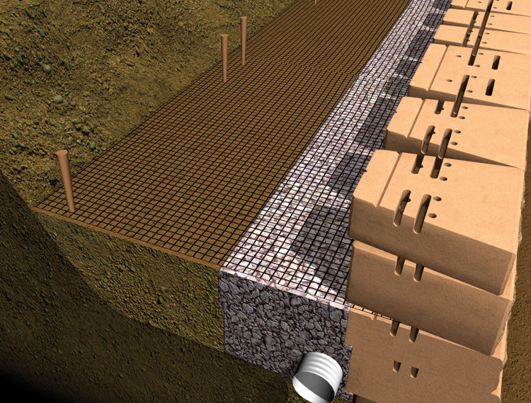 Pull the geogrid taut and anchor the end—typically with stakes or backfill material.