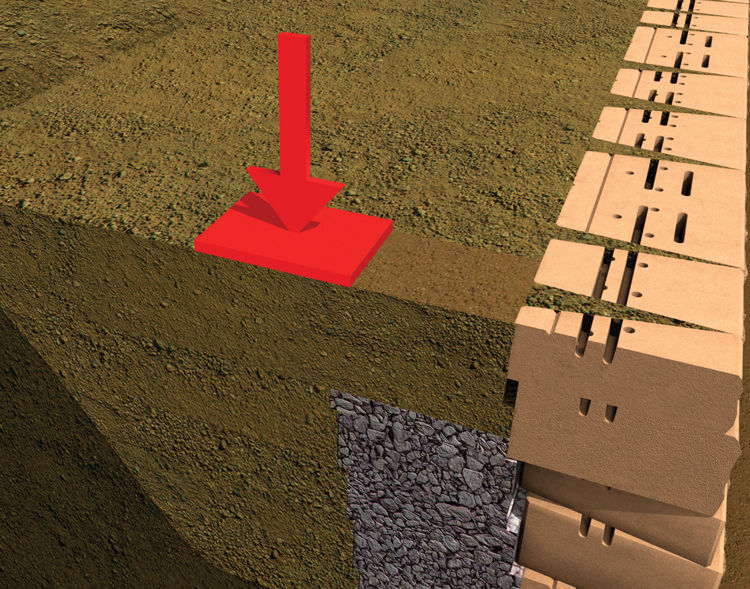 With your geogrid pulled taut and secured at the wall face by at least one pinned course, proceed with placement of drainage aggregate, backfilling and compaction over the geogrid.
